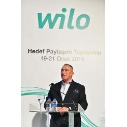 Wilo Türkiye Genel Müdürü Ercüment Yalçın yaptığı konuşmada, inşaat sektörünün 2017'de yüzde 9.9 büyüdüğünü, Wilo'nun bu oranın da üzerine çıkan başarılı bir büyüme performansı gösterdiğini söyledi