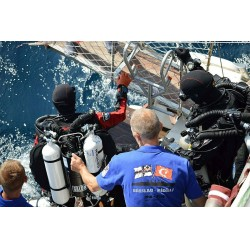 Savaş Karakaş ile operasyonun dalış süpervizörü Erol Öztunalı, sualtı fotoğrafçısı Ali Ethem Keskin ve Hasan Tan'dan oluşan Türk ekip, Yunan dalgıç-deniz tarihi araştırmacısı Dimitris Galon ile birlikte Alman dalgıçlar Derk Remmers, Ralf Wissel ve Markus Kerwath kendilerine yardımcı olan tekne mürettebatı ile bu anlamlı projede iş birliği yaptı