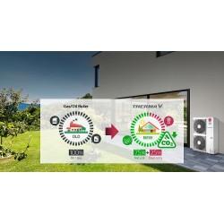 THERMA V monoblok, katkı sağladığı enerji tasarrufunun yanı sıra, kullandığı R32 soğutucu akışkan ile çevreyi korumaya da yardımcı oluyor.