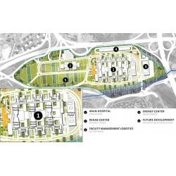 ESK kapsamındaki hastanelerin ve diğer ünitelerin yerleşim planı (yeşil çizgi Proje sahasının sınırlarını belirtmektedir)