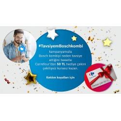 #TavsiyemBoschkombi etiketiyle paylaşıp tavsiyede bulunan kullanıcılar, Carrefour'dan 50 TL değerinde dijital hediye çeki kazanacak.